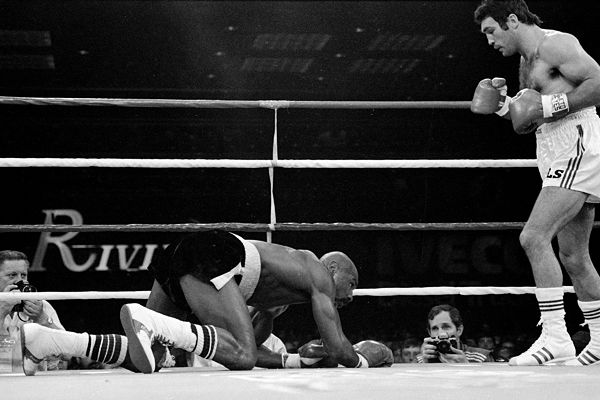 Marvin Hagler was knocked down