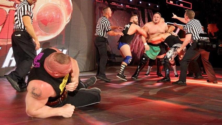 Samoa Joe chokes out Brock Lesnar